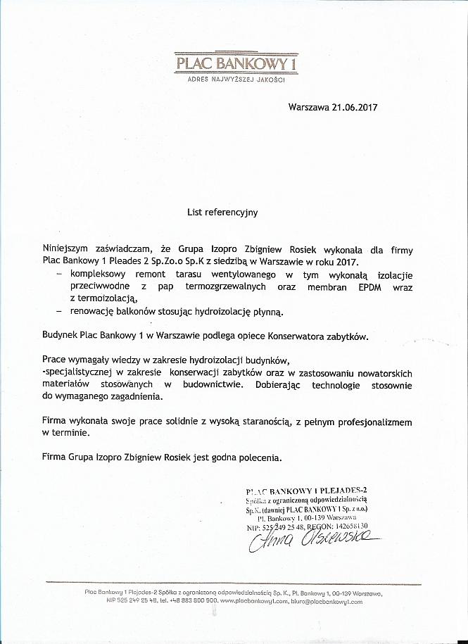 Plac Bankowy Pleades - Warszawa reamont tarasu wentylowanego: wykonanie izolacji przeciwwodnych tarasów