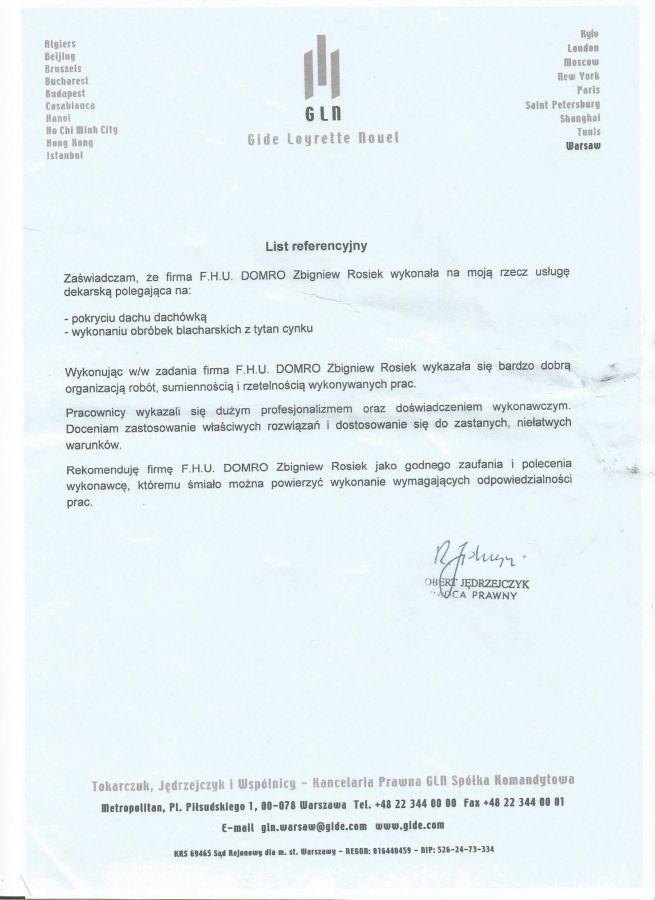 GLN Kancelaria Prawna Warszawa - wykonanie pokrycia dachowego budynku i obróbek blacharskich